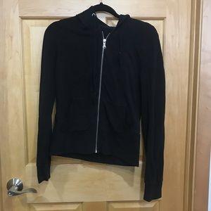 Express yoga zip up hooded jacket black